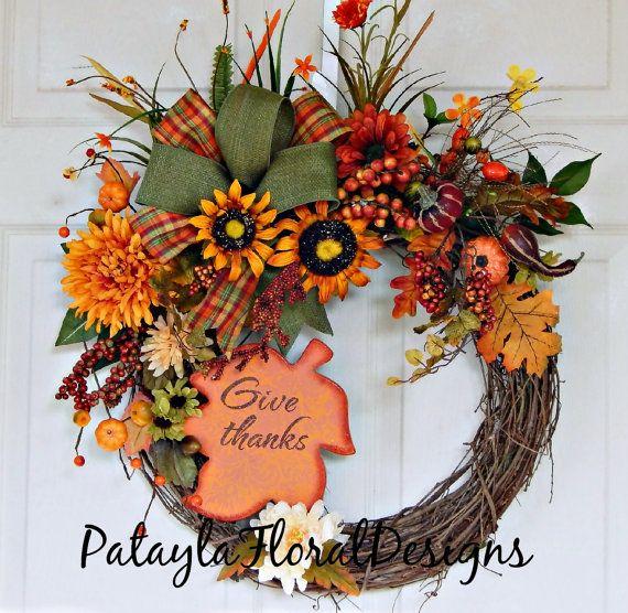 Thanksgiving Grapevine Wreath, Fall Door Wreath, Orange Yellow Green, Sunflower Wreath, Thanksgiving Decor, Berries and Pumpkins