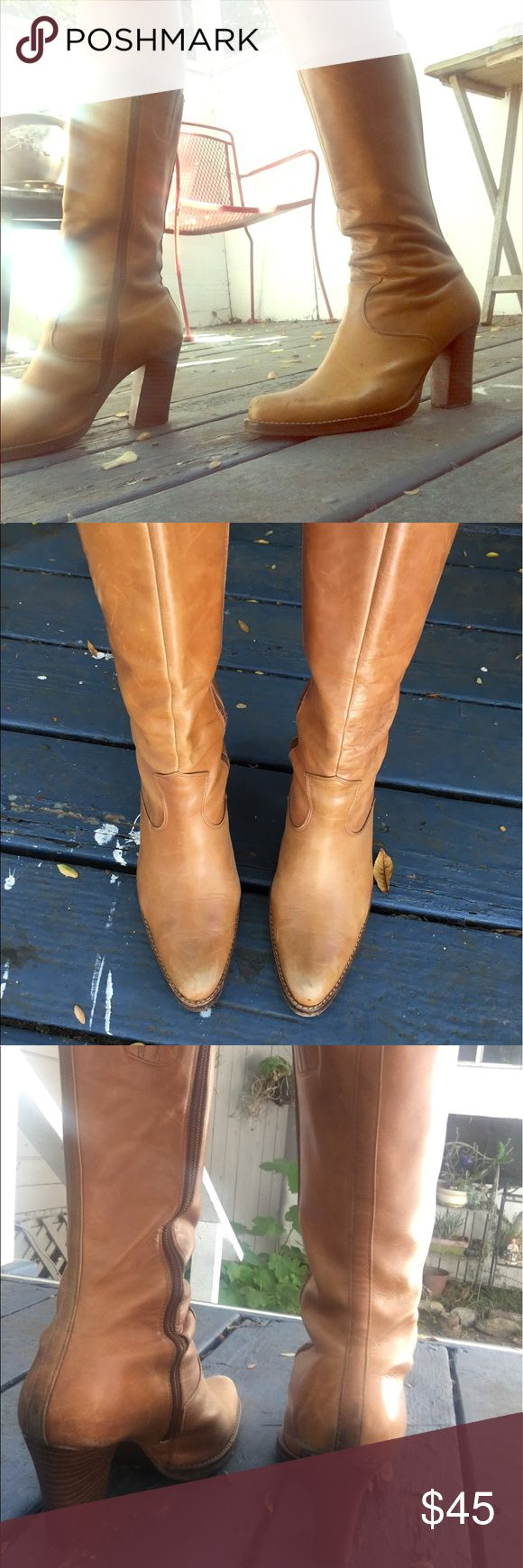 """Vintage Seychelles Tall Tan Leather Boots I love these vintage Seychelle boots with their inside zipper, 3"""" heels, and scuffed vintage charm, but alas, they are too small for my feet! In true vintage form, they are worn in and have rugged scuff marks, which only adds to their charm. Wear with a mini dress, under boot cut pants, or over skinny jeans. So versatile and classic! Seychelles Shoes Heeled Boots"""