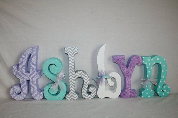 Custom wood letters, Nursery decor, 15.00 per letter, Purple and teal decor, Freestanding wood letters, Purple damask decor, Name sign