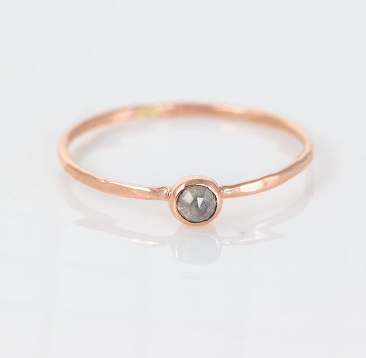Precious Rose Cut Gray Diamond Stacking Ring in 14k Gold // Tiny, Delicate, Simple Ring Design // Perfect Delicate Promise Ring by MelanieCaseyJewelry on Etsy https://www.etsy.com/listing/230074749/precious-rose-cut-gray-diamond-stacking