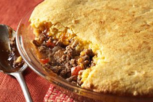 BBQ Beef-Cornbread  Pie recipe................. ......Here's what I made last night.  Yum!  Well received by the family.  Easy too!  I substituted green pepper for the red.  I added just a bit of Mrs 'Dash and cracked black pepper.