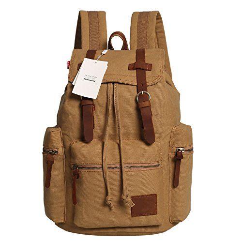 Seamand Vintage Men Casual Canvas Leather Backpack Rucksa...…