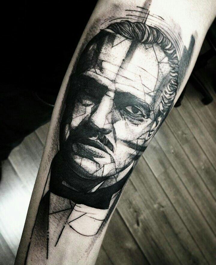 By Fredão Oliveira | Brazil | #Blackwork #Sketch #Godfather #Tattoo #DonCorleone…