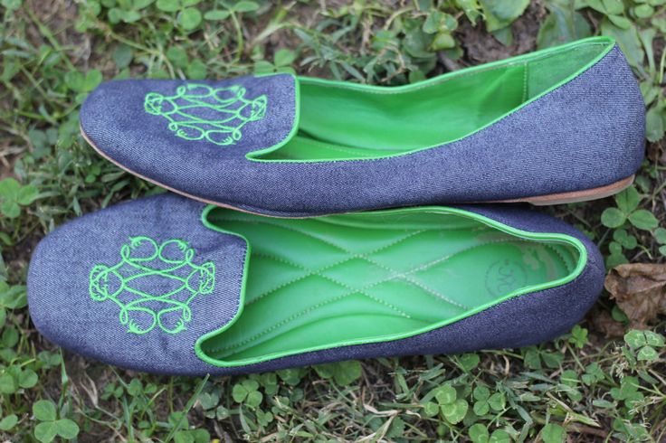 Johnston Murphy Riley Embroidered Blue Green Slippers Flat Shoes 8 5 | eBay