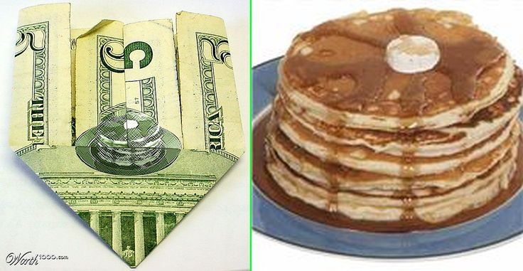 Fake - Stack of Pancakes on a Folded Five Dollar Bill - It was originally an entry(got third place) in a Worth1000 contest titled Yummy which used the stack of Pancakes pictured on the right. You can't make it by folding a Five dollar bill.......