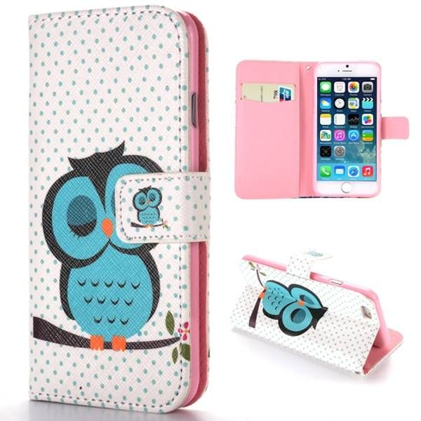Slapende uil bookcase hoesje voor iPhone 6 Plus
