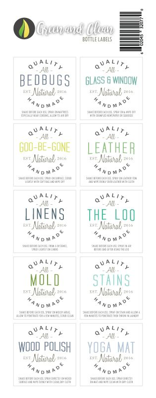 Green and Clean waterproof bottle Labels #diy #greenliving #essentialoils