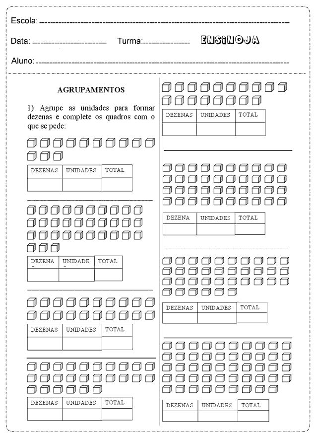 Atividades matemática 1° ano dezena unidade - Ensino Já