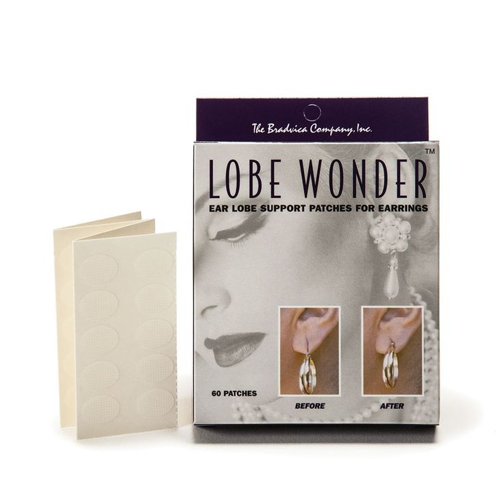 Lobe Wonder Support Patches work to repair the appearance of torn, damaged and stretched ear lobes instantly! Worn behind your ear lobe, these invisible patches are the perfect remedy to the problem of heavy pierced earrings tearing and s-t-r-e-t-c-hing your ear lobes. Each self adhesive oval patch is super-reinforced with a criss-cross network to strengthen and support ear lobes. Your ear lobes will look natural, not stretched and dragged down by the weight of heavy earrings. Lobe Wonder…
