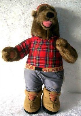 "Alaska Brown Bear Plush 15"" Tall Jeans Plaid Shirt Snow Boots"