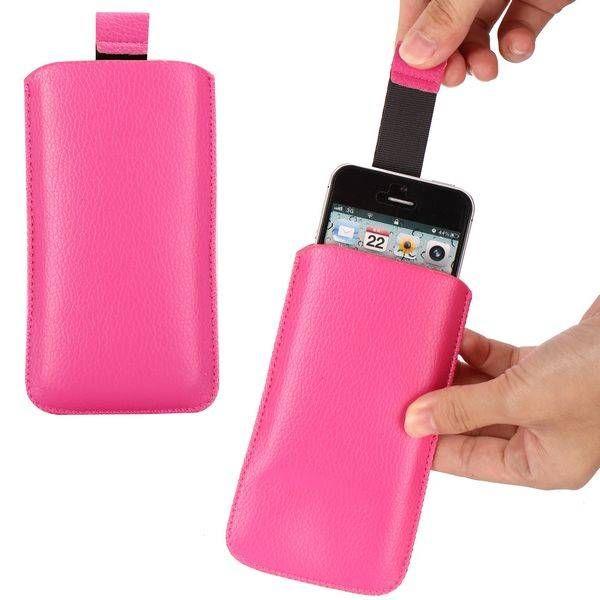 Donkerroze lichee lederen insteek hoesje voor iPhone 5 / 5s
