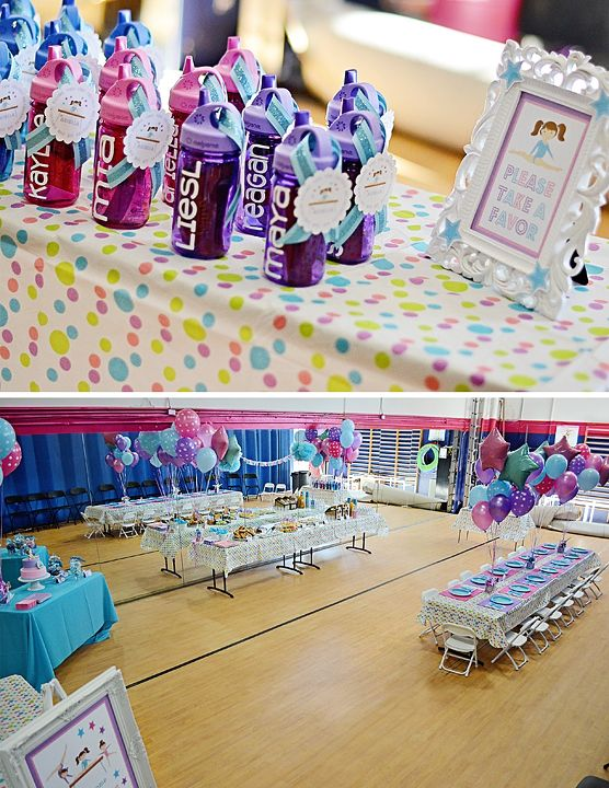 gymnastics party - water bottle favors and party room set up