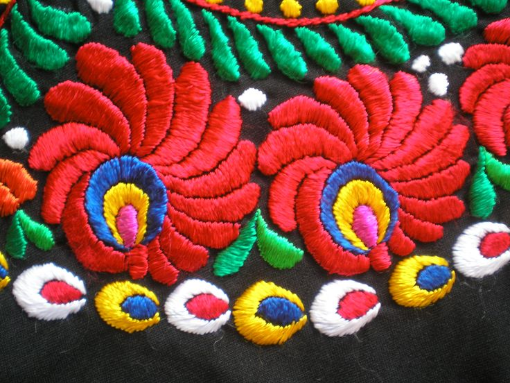 Detail of a Matyó embroidery, Hungary.