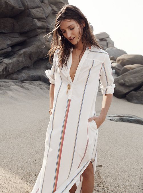 summer maxi dress, stripe beach coverup