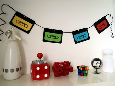 70's or 80's Party Decoration Cassette Tape Banner