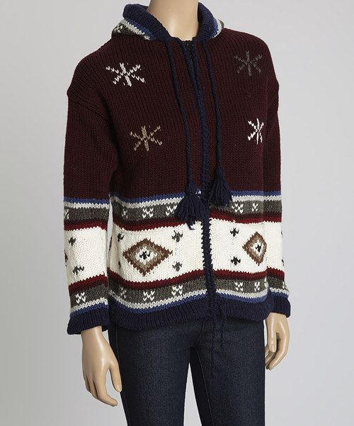 Take a look at the EARTH RAGZ Burgundy Fair Isle Knit Wool-Blend Zip-Up Jacket on #zulily today!