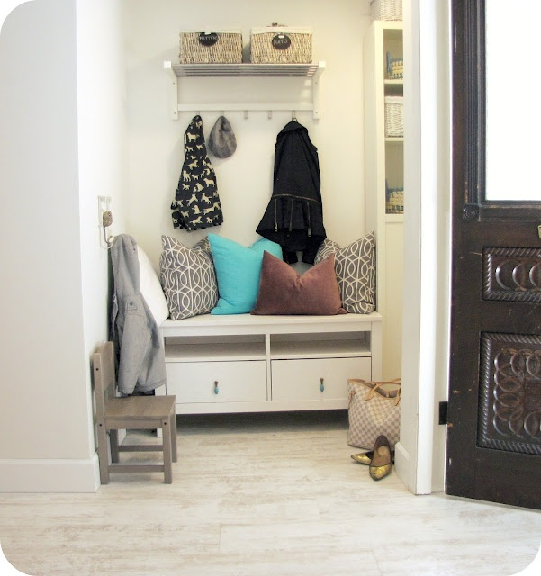 Doorway: Doors, Benches, Dwell Pillows, Diy'S Ikea, Mud Rooms, February 2012, Entrance Mudroom, Entryway, Ikea Mudroom