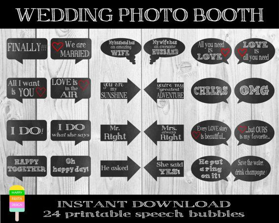 Funny Wedding Photo Props–24 Pieces–Photobooth Props–Printable Wedding Signs–Wedding Speech Bubbles–Funny Wedding Sayings-Instant Download