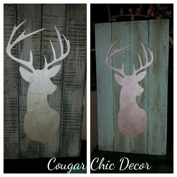 """Both of these beauties are for sale...they are both on Barnwood. .one is more gray and the other is more mint..both deer heads are painted with white metallic..they would look so beautiful on your wall! Both measure 13""""wide x 24""""tall  $65 each www.albertadames.ca"""