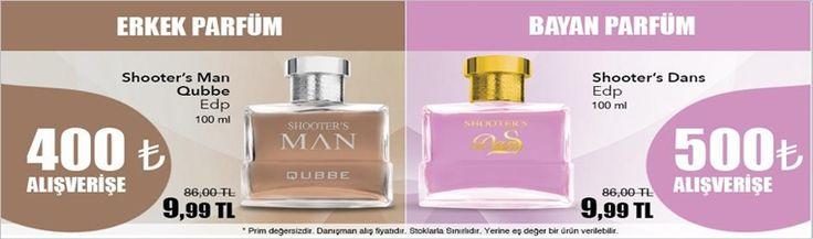 Shooter's Man Erkek Parfümü sadece 400 tl alışverişinize 86.00 tl lık ürün 9.99 Şaka gibi değilmi ? evet sadece Erkeklere özel bu parfüm 9.99 tl....! - Bayanlarıda düşündük...!  Shooter's Dans Siz bakımlı ve hoş kokmayı seven bayanlara özel 86.00 tl liralık bu parfüm sadece 9.99 tl...
