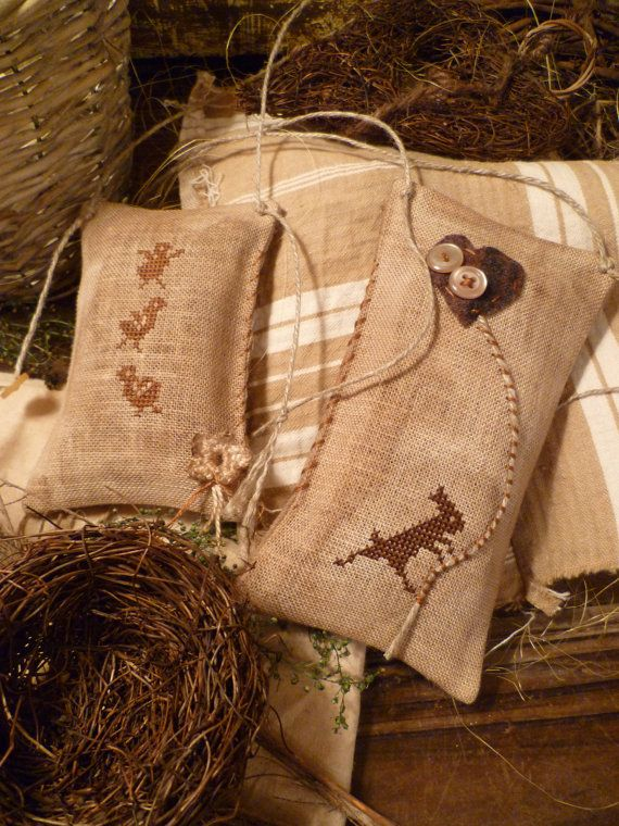 PRIMITIVE EASTER Set of TWO Bunnies and Baby by nathaliepoppy,