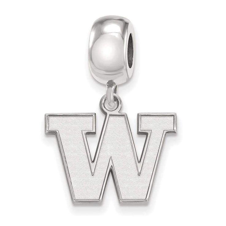 Sterling Silver LogoArt University of Washington Small Dangle Bead
