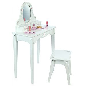 This beautiful white dressing table and stool comes complete with a built-in mirror, two drawers and pretty floral decoration. Size of Table: L58.5xW30xH95cm  | From Spotty Green Frog