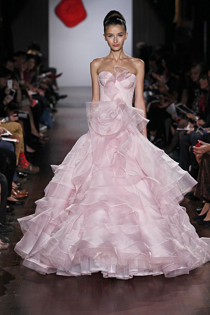 Austin Scarlett. Strapless Silk Organza and horsehair ballgown with sculpted bustier bodice, low drop waist and tiered ruffle skirt. (AS18)