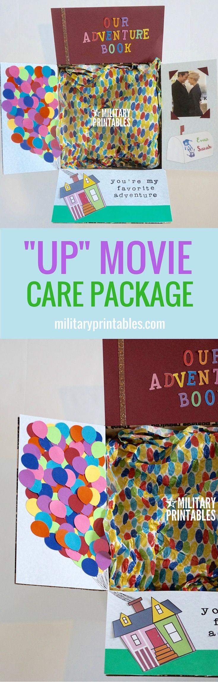 "Care Package Idea from the Disney Movie ""Up"", love the balloons!"