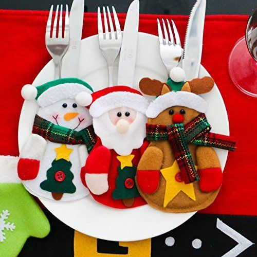 COMING 12 Sets Kitchen Cutlery Suit Silverware Holders Pockets Knifes Forks Bag Snowman Shaped Christmas Party Decoration Christmas Bags for Knife and Fork Christmas Decorations