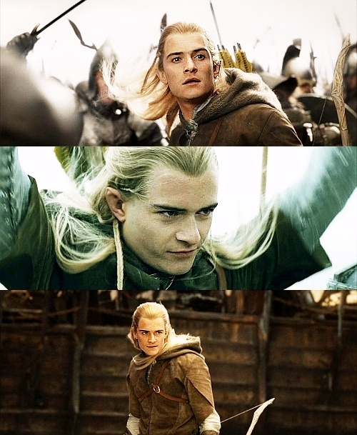 The middle picture is the best.  (And also I think that the last photo is actually a CGI Legolas...)