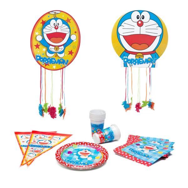 Si te gusta Doraemon, por qué no celebrar con él tu cumpleaños, comunión o cualquier tipo de celebración, pequeña o multitudinaria! ¡Todo realizado con mucho mimo para que sea inolvidable!    El pack contiene:    10 vasos  10 platos  20 servilletas  2 piñatas  10 bolsas para golosinas (golsinas no incluidas)