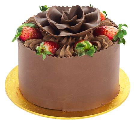 Patisserie Valerie - Special Occasion Cakes - Chocolate, Strawberry and Banana Gateau  Chocolate sponge layers filled with Belgian chocolate cream, fresh strawberries, fresh cream and Bananas. Decorated with Belgian chocolate and fresh strawberries.  (no recipe)