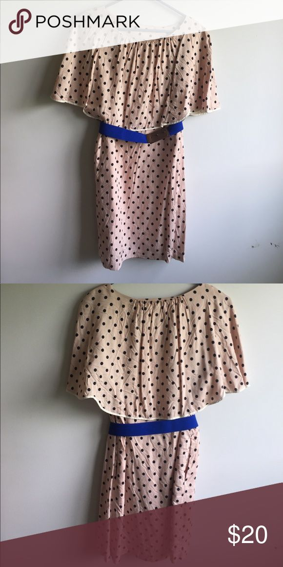 New Uniqlo dress Brand new, never been worn Uniqlo dress. Stretchy blue and brown belt and POCKETS!! Creamy pink color with black polka dots Uniqlo Dresses Midi