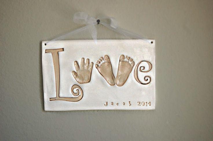 Clayful Impressions Ceramic Handprints: LOVE Handprint and Footprints Sign by Clayful Impr...