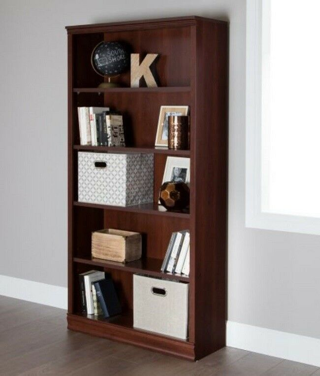 5 shelf bookcase 3 adjustable shelves tall wood bookcases office rh pinterest com