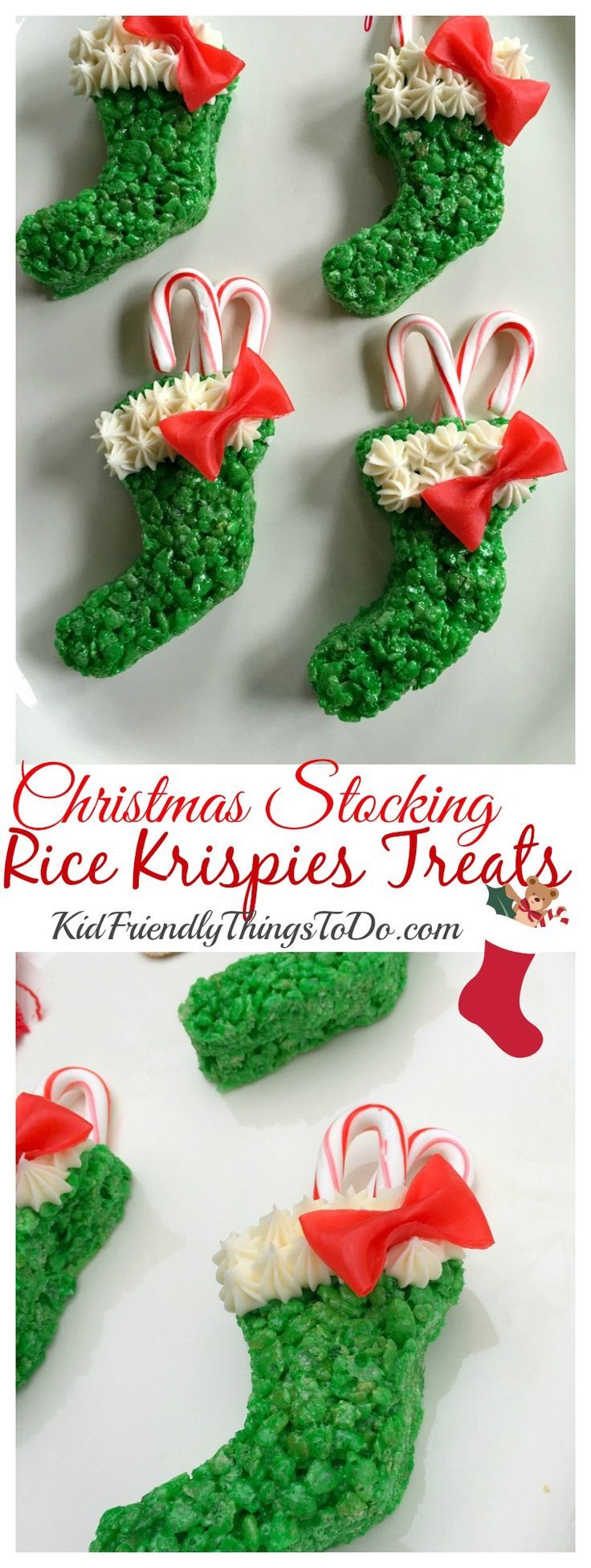 I love these! Christmas Stocking Rice Krispies Treats with easy Fruit Roll Up Bows, stuffed with candy canes! So awesome for a fun food at Christmas! - http://KidFriendlyThingsToDo.com
