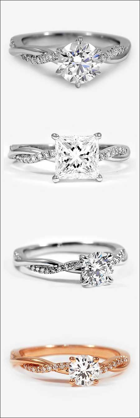 Four versions of the popular 'Eco Friendly' Petite Twisted Band Engagement Ring by Brilliant Earth. Top to bottom: 1) Six-Prong, Platinum 0.80 Carat, Round, Super Ideal, E, VS2. 2) Platinum, 1.53 Carat, Princess, Super Ideal, H, VVS1. 3) Platinum, 0.62 Carat, Round, Super Ideal, E, VVS2. 4) 14K Rose Gold, 0.42 Carat, Round, Good, G, VS2. | bridesandrings.com