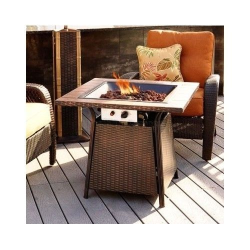 Fire Pit Table Outdoor Patio Furniture Heater Fireplace Propane Gas Square Deck #Firepit