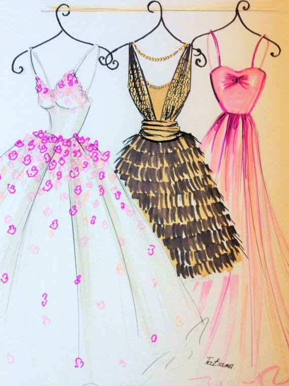 Mi ilustración ORIGINAL moda vestidos por loveillustration en Etsy