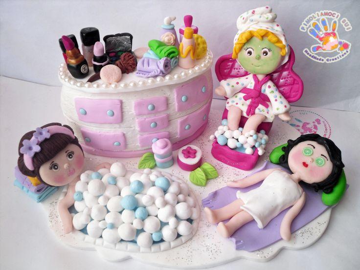 Cake Topper tema SPA in fimo, un'idea presa dal web di un cake topper in pasta di zucchero!