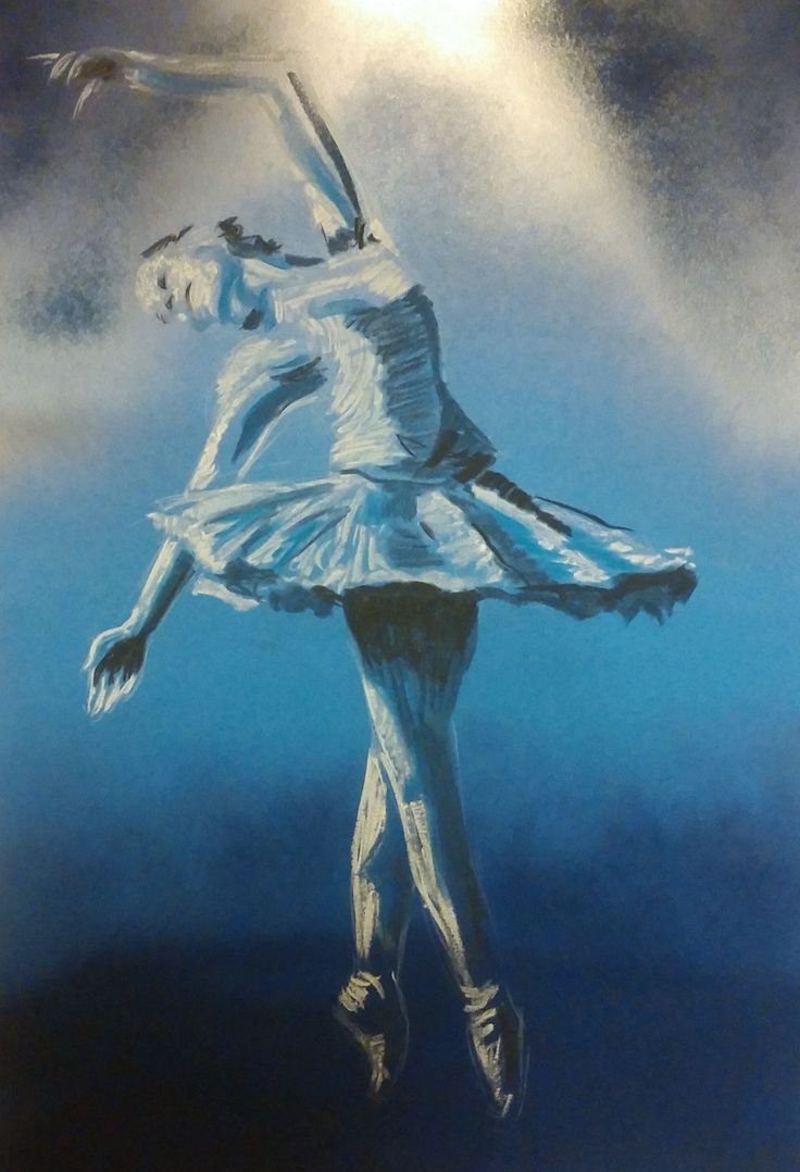 Fantasia inspired themed artwork for a ballet concert - soft pastel onto spraypainted blue board