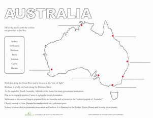 Middle School Geography Worksheets: Map of Australia
