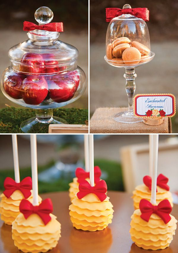 Snow White & the Seven Dwarfs in Woodland Party. Look at how cute those cake pops are.