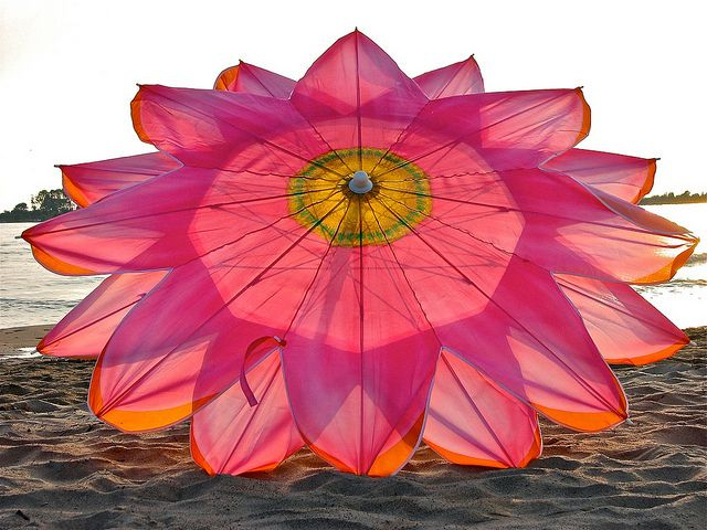 Beach umbrella...fabulous color combo --- Where can I get one of these??? WOW!