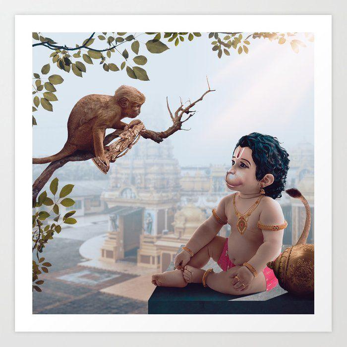 Lord Hanuman And The Monkey Art Print By Ramesstudios Society6 In 2020 Lord Hanuman Wallpapers Lord Hanuman Hanuman