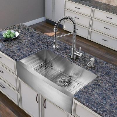 Vigo All-in-One Farmhouse Apron Front Stainless Steel 36 in. Single Bowl Kitchen Sink in Stainless Steel-VG15255 - The Home Depot