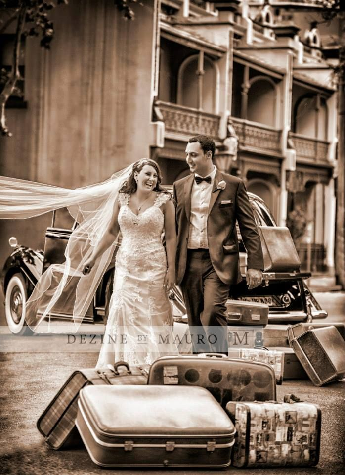 Wedding photos sepia 1950s suitcases