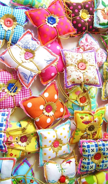 colorful pillow pincushions