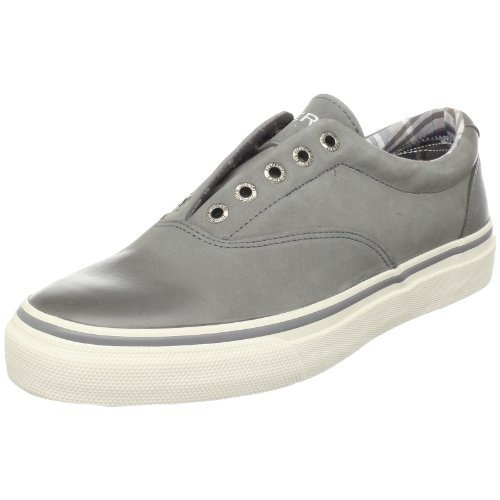 Sperry Top-Sider Men's Striper Laceless Sneaker, Gray Leather Burnished, 8.5 M US
